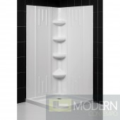 """SlimLine 32"""" by 32"""" Double Threshold Shower Base and QWALL-2 Shower Backwall Kit"""