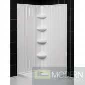 """SlimLine 40"""" by 40"""" Neo Shower Floor and QWALL-2 Shower Backwall Kit"""