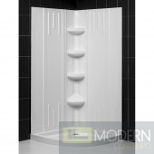 """SlimLine 38"""" by 38"""" Quarter Round Shower Tray and QWALL-2 Shower Backwall Kit"""