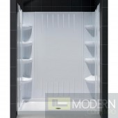 "SlimLine 30"" by 60"" Single Threshold Shower Base Center Drain and QWALL-3 Shower Backwall Kit"