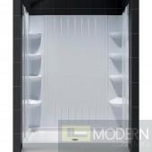 "SlimLine 36"" by 60"" Single Threshold Shower Base Center Drain and QWALL-3 Shower Backwall Kit"