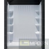 """SlimLine 36"""" by 60"""" Single Threshold Shower Base Right Hand Drain and QWALL-3 Shower Backwall Kit"""