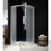 """Solo 36 3/8"""" by 36 3/8"""" Frameless Sliding Shower Enclosure, Base and QWALL-4 Shower Backwall Kit"""