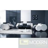 Divani Casa T17 Contemporary Black and White Sofa Recliners