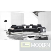 Divani Casa T2000 - Modern Bonded Leather Sectional Sofa With Light