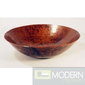 Round Copper Bath Vessel Sink in Natural Finish