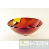 Burnt Orange Floral Design Glass Vessel Sink