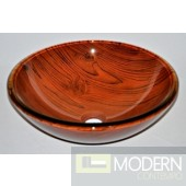 Wide Wood Grained Glass Vessel Sink