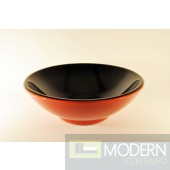 Solid Red Outside and Black Inside Glass Vessel
