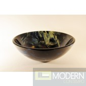 Black, Blue and Yellow Marble Glass Vessel