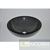 Clear Grey Round Vessel Sink