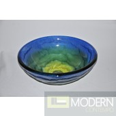 Blue/Yellow/Green Swirled Glass Vessel Sink