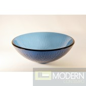 Blue with Frosted Stemmed Pattern Vessel