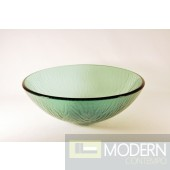 Green with Frosted Stemmed Pattern Vessel