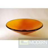 Burnt Yellow Low Profile Round Vessel Sink