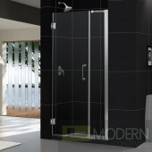 "Unidoor 35 to 36"" Frameless Hinged Shower Door, Clear 3/8"" Glass Door, Brushed Nickel Finish"