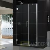 """Unidoor 43 to 44"""" Frameless Hinged Shower Door, Clear 3/8"""" Glass Door, Brushed Nickel Finish"""