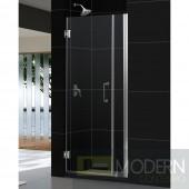 """Unidoor 36 to 37"""" Frameless Hinged Shower Door, Clear 3/8"""" Glass Door, Brushed Nickel Finish"""