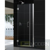 "Unidoor 33 to 34"" Frameless Hinged Shower Door, Clear 3/8"" Glass Door, Brushed Nickel Finish"