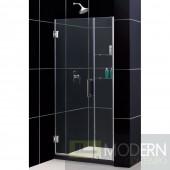 """Unidoor 39 to 40"""" Frameless Hinged Shower Door, Clear 3/8"""" Glass Door, Brushed Nickel Finish"""