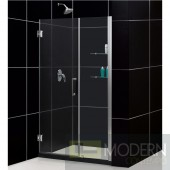 """Unidoor 47 to 48"""" Frameless Hinged Shower Door, Clear 3/8"""" Glass Door, Brushed Nickel Finish"""