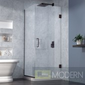 Unidoor Plus 30-3/8 in. W x 30 in. D x 72 in. H Hinged Shower Enclosure, Oil Rubbed Bronze Finish Hardware