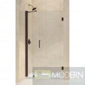 """Unidoor 41 to 42"""" Frameless Hinged Shower Door, Clear 3/8"""" Glass Door, Oil Rubbed Bronze Finish"""