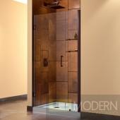 """Unidoor 37 to 38"""" Frameless Hinged Shower Door, Clear 3/8"""" Glass Door, Oil Rubbed Bronze Finish"""