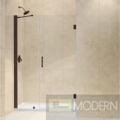 """Unidoor 43 to 44"""" Frameless Hinged Shower Door, Clear 3/8"""" Glass Door, Oil Rubbed Bronze Finish"""