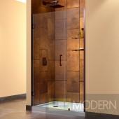 """Unidoor 47 to 48"""" Frameless Hinged Shower Door, Clear 3/8"""" Glass Door, Oil Rubbed Bronze Finish"""