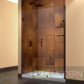 """Unidoor 51 to 52"""" Frameless Hinged Shower Door, Clear 3/8"""" Glass Door, Oil Rubbed Bronze Finish"""