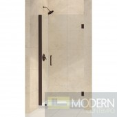 "Unidoor 33 to 34"" Frameless Hinged Shower Door, Clear 3/8"" Glass Door, Oil Rubbed Bronze Finish"