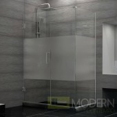 Unidoor Plus 30-1/2 in. W x 34-3/8 in. D x 72 in. H Hinged Shower Enclosure, Half Frosted Glass Door, Chrome Finish Hardware