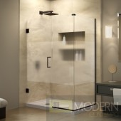 Unidoor Plus 31 in. W x 30-3/8 in. D x 72 in. H Hinged Shower Enclosure, Half Frosted Glass Door, Oil Rubbed Bronze Finish Hardware