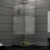 Unidoor Plus 30-3/8 in. W x 30 in. D x 72 in. H Hinged Shower Enclosure, Half Frosted Glass Door, Chrome Finish Hardware
