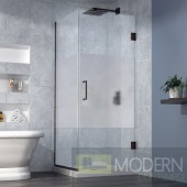 Unidoor Plus 30-3/8 in. W x 30 in. D x 72 in. H Hinged Shower Enclosure, Half Frosted Glass Door, Oil Rubbed Bronze Finish Hardware
