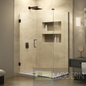 Unidoor Plus 31 in. W x 34-3/8 in. D x 72 in. H Hinged Shower Enclosure, Oil Rubbed Bronze Finish Hardware