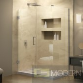 Unidoor Plus 30 in. W x 34-3/8 in. D x 72 in. H Hinged Shower Enclosure, Brushed Nickel Finish Hardware