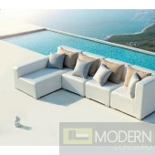 Renava Nicosia White Outdoor Small Sectional Sofa w/ Left Facing Chaise