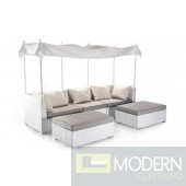 Renava Malibu - Sectional, 2 Ottomans, and Top Cover Patio Set