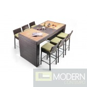 Renava Pier - Table and 6 Barstool Patio Bar Set