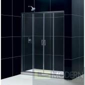 """Visions Frameless Sliding Shower Door, 34"""" by 60"""" Single Threshold Shower Base Left Hand Drain and QWALL-5 Shower Backwall Kit"""