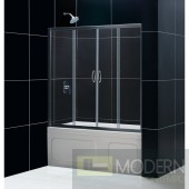 """Visions 56 to 60"""" Frameless Sliding Tub Door, Clear 1/4"""" Glass Door, Brushed Nickel Finish"""