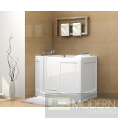 "55"" x 30"" Walk-In Jetted Tub in White - Right Hand"