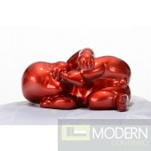 Modrest XD0054 - Modern Red Baby Playing Sculpture