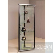 Modern Black with Glass Curio Corner Wine Cabinet