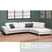 2Pc MILANI WHITE LEATHER SECTIONAL SOFA