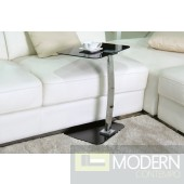 Sleek Chrome Smoked Glass Top End Table