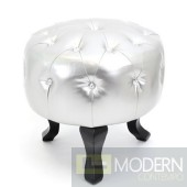 Silver Round Pouf crystals Tufted Ottoman