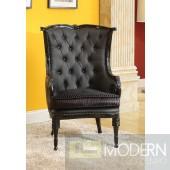 PEGASUS Black Button-Tufted Victorian Accent Arm Chair
